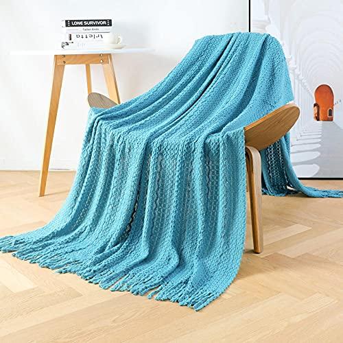 Coperta morbida - tante dimensioni e colori diversi - coperta in microfibra da soggiorno copriletto copri divano - vello in microfibra di flanella -Acqua blu_127 * 152 cm.