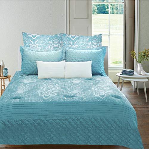 Linen Depot Direct ZAH01 450 060 080 7217 Zahra 7 Piece Comforter Set, Queen, Turquoise