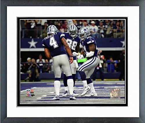 Dak Prescott, Dez Bryant, Ezekiel Elliott Dallas Cowboys Action Photo (Size: 12.5' x 15.5') Framed