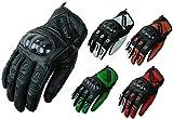 HEYBERRY Motorradhandschuhe Leder Motorrad Handschuhe kurz schwarz grün Gr. 2XL