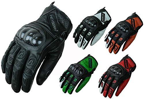 HEYBERRY Motorradhandschuhe Leder Motorrad Handschuhe kurz schwarz weiß Gr. L