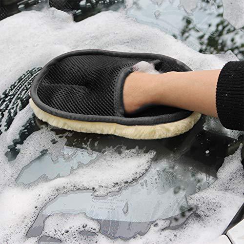 OUYAWEI Sneeuw Schop Tool, Wol Auto Was Handschoen Car-Wiping Waxing Handschoen Schoon Gepolijst Fluffy Beer Paw 25x15cm