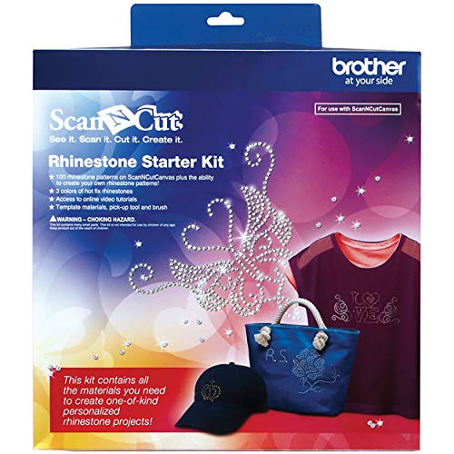 Brother ScanNCut Rhinestone Starter Kit CARSKIT1, Accessory Set with Template Sheets, Positioning Brush, 1,450 Gems and 100 Patterns, Hotfix for Crafts, Personalized Clothing and More