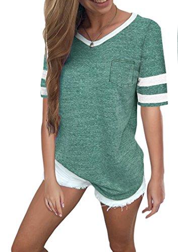 Ehpow Damen Kurzarm T-Shirt V-Ausschnitt Casual Sommer Lose Shirt Oversize Oberteile (Small, Grün)