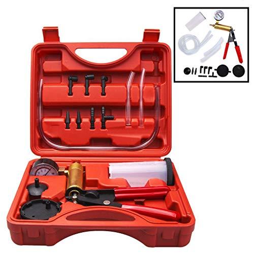 AOBETAK Kit spurgo Freni, Tester per Pompa a Vuoto con adattatori, Set di Strumenti per spurgo del Liquido dei Freni per Moto e Auto Tubi