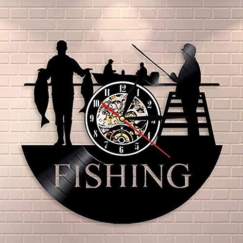 SXLCKJ Reloj de Pared de Cuarzo silencioso para decoración del hogar de Pescador Reloj de Registro de Pesca Reloj Retro Regalo de Pescador para Hombres 30x30 cm (Regalos)