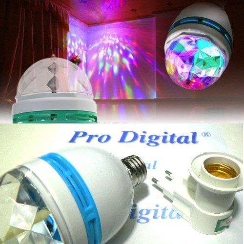Lampe LED RGB + douilles à prise avec interrupteur – Excellent effet Disque.