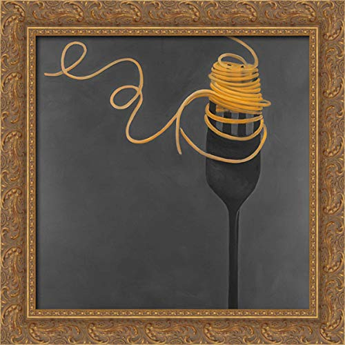 Atelier B Art Studio 20x20 Gold Ornate Framed Canvas Art Print Titled: Spaghetti Pasta Around The Fork