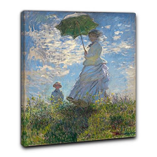Niik Quadro + Telaio (BC) Donna con Il Parasole di Claude Monet 60 x 49 x 1,7 cm Falso d'autore Stampa su Tela