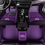 Custom Car Floor Mats Customizable 95% Car Model PU Leather All Weather Waterproof Non-Slip Diamond Full Covered Protection Advanced Performance Liners,Personalized Text and Image, Purple