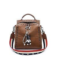 DOODOO レディース リュック ミニ バックパック PUレザー ポシェット Mini Rucksack Bag for Women 褐色 [並行輸入品]