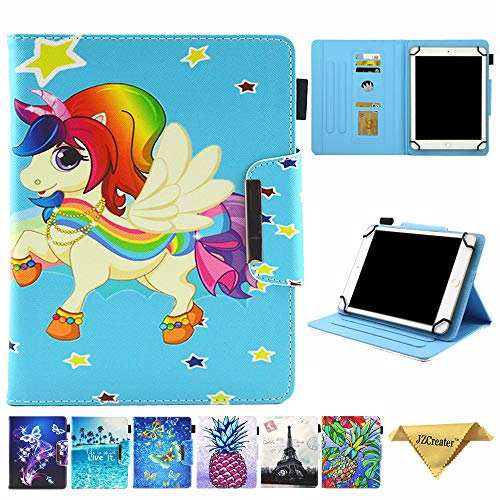 9.5-10.5 inch Tablet Universal Case, JZCreater Synthetic Leather Case Cover for Apple iPabcd Air,New iPabcd 5th/6th Gen, Sabcmsung Gabclaxy Tab A 10.1/Tab E 9.6 and More 9.5-10.5inch Tablet, Unicorn