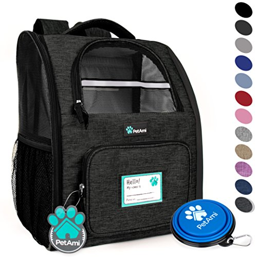 PetAmi Deluxe Pet Carrier Backpack for Small Cats and Dogs, Puppies   Ventilated Design, Two-Sided Entry, Safety Features and Cushion Back Support   for Travel, Hiking, Outdoor Use (Heather Charcoal)