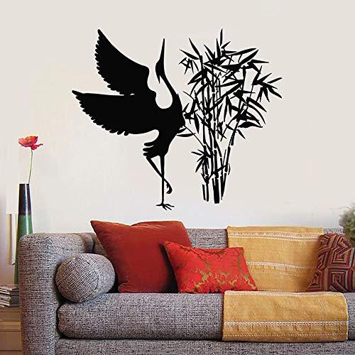 yaonuli Schöne Storch Wandtattoo orientalischen Bambus Vogel Vinyl Aufkleber Wohnzimmer Kinderzimmer Home Dekoration kreative Tapete 45X54cm