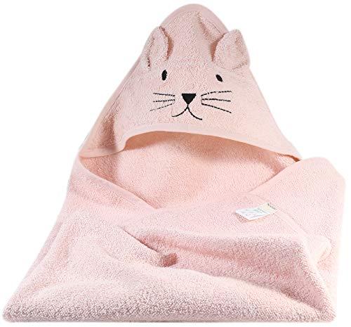Kindsgut Kapuzenhandtuch Katze aus 100{4114709245f4db5b2721d59a0d482ee8662d4bc74fcc14c98f1c2ceb8e112da1} OEKO-TEX zertifizierter Baumwolle, kuschelig weich für Babys und Kleinkinder, ideal für zuhause oder unterwegs, Rosa