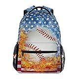 ZOEO Blue Baseball Bookbags Chic 3th 4th 5th Grade School Backpacks Travel Laptop Daypack Bag Purse for Girls Boys Teens