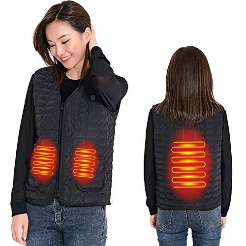Yeah-hhi Chaleco de invierno con calefacción de 3 zonas de 3 niveles de temperatura inteligente calentador eléctrico para invierno hombre mujer, mujer ~ negro, XXL