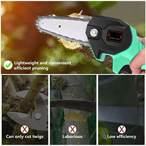 Deysen Mini Chainsaw, 4 Inch Cordless Electric Protable Chainsaw Rechargeable Lithium Battery Chainsaw 0.7kg Ultra-Light Electric Saw Suitable for Garden, Branch, Wood Cutting and Pruning