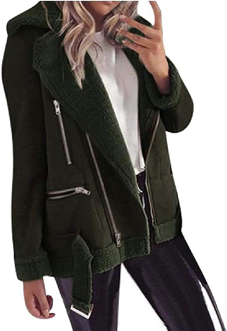 Mekoe Womens Fleece Jacket Winter Faux Suede Jacket Zipper Up Front Coat Outwear Outcoat with Pockets
