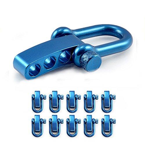 Manille droite réglable en acier avec un axe à visser simple à manier, manille en forme de U, manille ajustable, idéale avec les paracordes 550, confection de bracelets, grandeur: M, couleur: bleu, de la marque Ganzoo – lot de 10 manilles