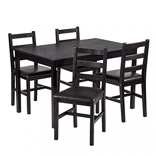 FDW 5PCS Dining Table Set Pine Wood Kitchen Dinette Table with 4 Chairs Montana