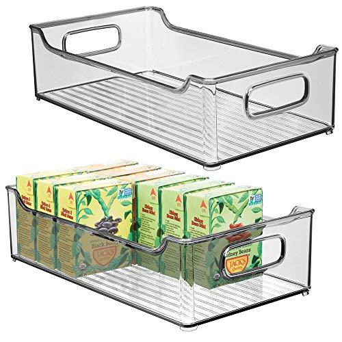 mDesign 2er-Set Aufbewahrungsbox für die Küche – stapelbare Kühlschrankkorb aus Kunststoff – Kühlschrankbox für Milchprodukte, Obst und andere Lebensmittel – rauchgrau