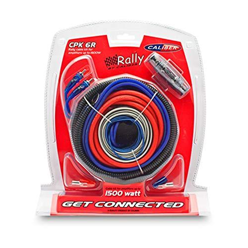 Caliber CPK6R Rally-kabelkit voor versterkers tot 1500 W (CCA) rood