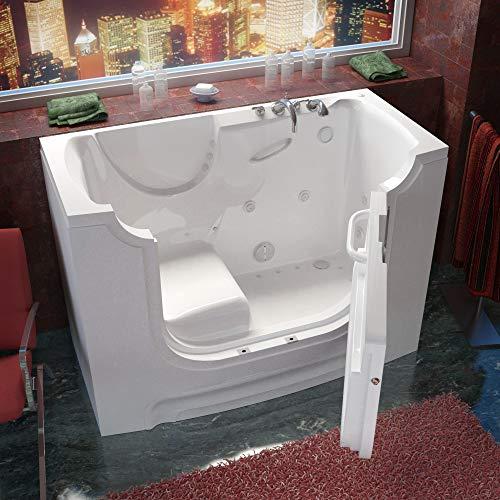 Meditub 3060WCARWD 30x60 Right Drain White Whirlpool & Air Jetted Wheelchair Accessible Walk-In Bathtub