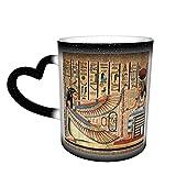 Oaieltj Taza cambiante de calor, taza de café sensible al calor personalizada egipcia antigua taza de café taza de té de leche tazas de café magia tazas de corte