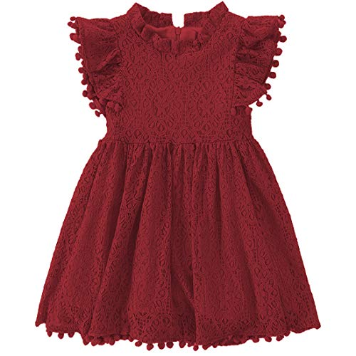 Niyage Toddler Girls Elegant Lace Pom Pom Flutter Sleeve Party Princess Dress Wine Red 90