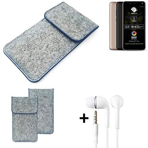 K-S-Trade Filz Schutz Hülle Für Allview A9 Plus Schutzhülle Filztasche Pouch Tasche Handyhülle Filzhülle Hellgrau, Blauer Rand + Kopfhörer