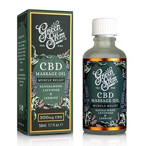 CBD Massage Oil 300mg - Sandalwood Lavander and Jasmine by Green Stem for Unisex - 1.7 oz Oil