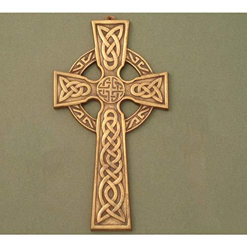 Robert Emmets Small Celtic Wall Cross/Celtic Knot Center/Antique Brass 5.5″ X 3″