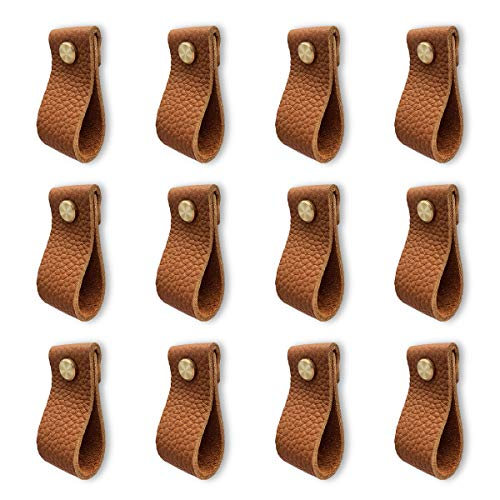 Leather Dresser Knobs, 12 Pack Knobs for Dresser Drawers, Soft Drawer Knobs Upgrade The Look of Furniture, Perfect Replacement of Metal Cabinet Knobs (Brown)