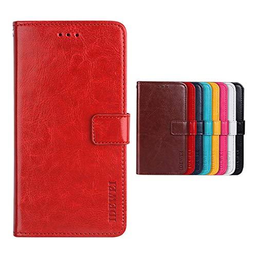 SHIEID Hülle für TP-LINK Neffos C5 Plus Hülle Brieftasche Handyhülle Tasche Leder Flip Hülle Brieftasche Etui Schutzhülle für TP-LINK Neffos C5 Plus(Rot)