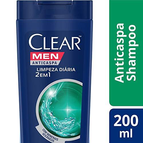 Shampoo Anticaspa Clear Men Limpeza Diária 2 em 1 200 ML, Clear
