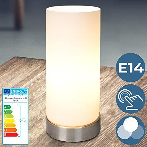Tischlampe mit Dimmer Touchfunktion - EEK: A++ bis E, 1er oder 2er Set, E14, LED, dimmbar - Nachttischlampe, Nachttischleuchte, Bürolampe - für Wohnzimmer, Schlafzimmer, Kinderzimmer (1er)