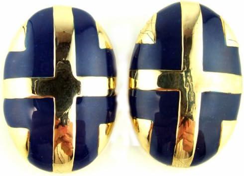 Royal Blue Enamel & Gold Tone Oval Clip-On Earrings