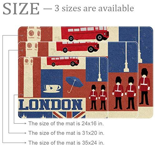 Yoliveya Felpudo suave con símbolos de Londres y puntos de interés absorbentes, antideslizantes, alfombra de goma para la entrada en casa, oficina de 60 x 40 cm