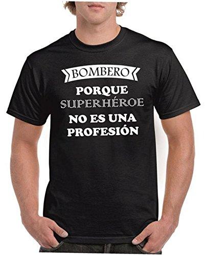 Camisetas divertidas Child Bombero Porque superheroe no es una profesion - para Hombre Camisetas Talla Large Color Negro