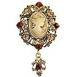 TENDYCOCO Broche Broche de camafeo Vintage Broche Cristal para Mujer (Dorado)