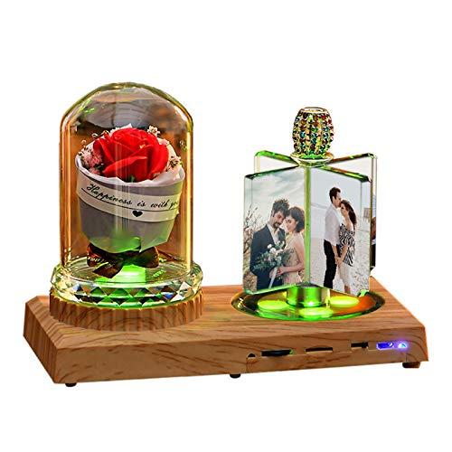 Luz De Noche Led Con Música Bluetooth Personalizada En 7 Colores - Diseña Tu Lámpara De Álbum De Cristal Con Caja - Decoración Del Hogar Aniversario Ideas De Cumpleaños Para Mujeres Rosa Roja