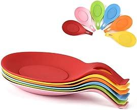 BESTONZON Silicone Spoon Rest Non-Slip Heat Resistant Mat Spatula Spoon Holder Utensils Storage Rack Holder for Home Kitchen Restaurant (Pink)