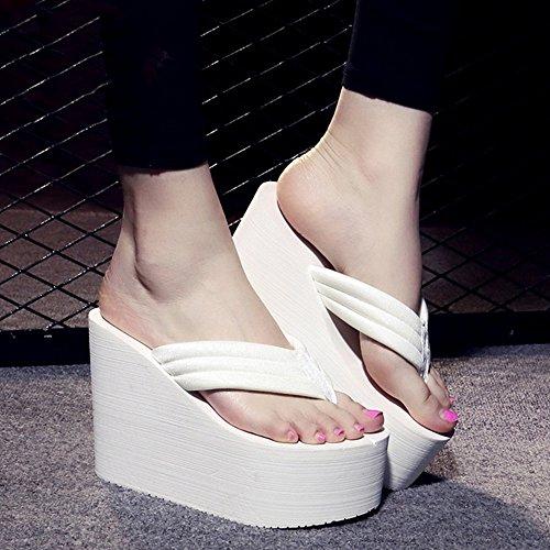 Sandalen 12 cm hoog hakken hoge hakken vrouwelijke zomerdoek zijde mode slippers student strand schoenen stijlvol 37 EU wit