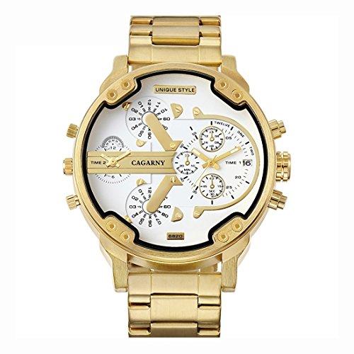 Schöne Uhren, CAGARNY 6820 Modische Business Style Große Zifferblatt Kalenderanzeige Männer Quarz Dual Movement Uhr mit Edelstahlband ( SKU : Wa1426jw )