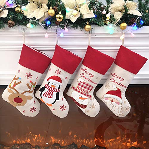 Bstaofy Traditional Christmas Stockings Set of 4 Santa Reindeer Snowman Penguin with 3D Tech, 18''(Style 2)
