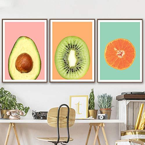 IGZAKER Kiwi Fruit Oranje Avocado Nordic Posters En Prints Wall Art Canvas Schilderij Fruit Poster Muur Foto Voor Woonkamer Decor-40x60cmx3pcs geen frame