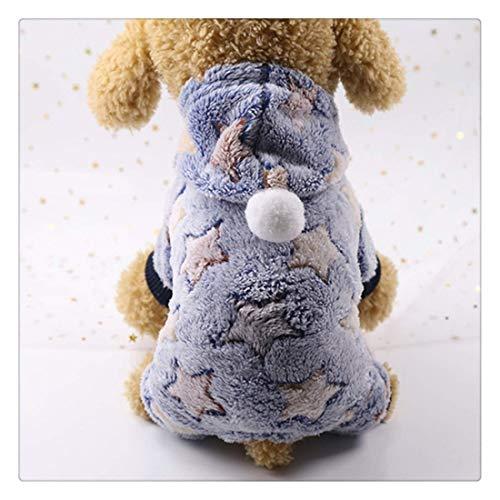 Ropa para Perros Perro Pijama Polar Mono Otoño Invierno Ropa for Perros Cuatro Patas Mascota Caliente Ropa Pijamas, Tamaño: M (Estrella Amarilla) (Color : Blue Star)