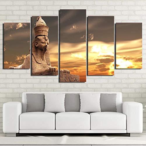 104Tdfc Impresiones sobre Lienzo 5 Piezas Cuadros En Lienzo Escenario de la Momia egipcia 5 Piezas Grabados e Impresiones Moderno Oficina Sala Estar Dormitorio Decoración