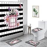 Botella de Perfume Rosa Pintalabios Impreso Juego de decoración de baño Alfombra Antideslizante Cubierta de Inodoro Rugs-3_180x180cm